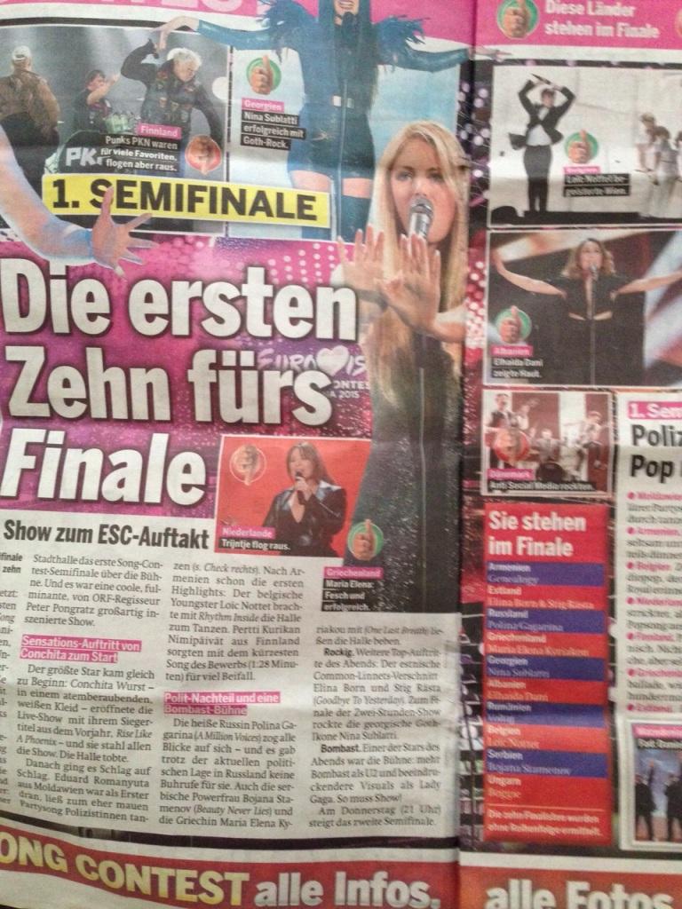 İlk yarı finalin ardından bir gazete sayfası